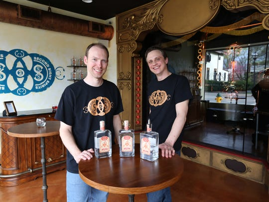 Rick Couch, left, and Carus Waggoner, owners of Second Sight Spirits have opened a new  artisan distillery in Ludlow.