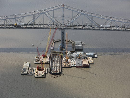 An aerial view of the Tappan Zee Bridge replacement construction on April 23, 2015. Now that the Gov. Mario M. Cuomo Bridge is nearing completion, builder Tappan Zee Constructors is trying to sell off cranes, barges, boats and tugs used on the $4-billion project.