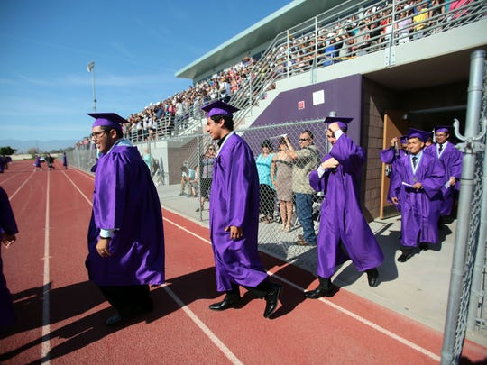 The Shadow Hills class of 2015 attend their graduation ceremony on a Saturday in Indio.