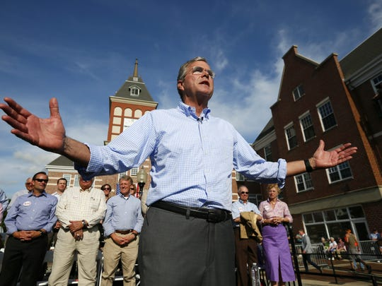 Jeb Bush speaks to a crowd of about 500 at Molengracht Plaza in Pella on Wednesday, June 17, 2015.