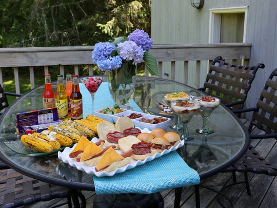 "Rebecca Berman has a new celebrity talk show called ""The Cooler"" where she will interview people and share fun food tips around a cooler. Hot dogs, hamburgers, corn and other barbecue treats are photographed at her home in Armonk, July 24, 2015."