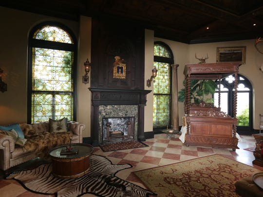 The living room of this castle in north Yonkers, photographed
