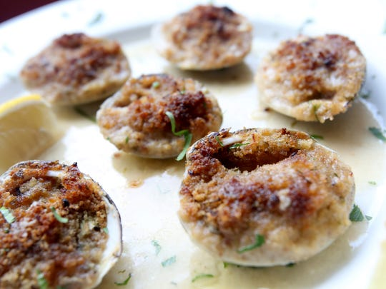 Vongole Oreganate, baked clams served over lemon white