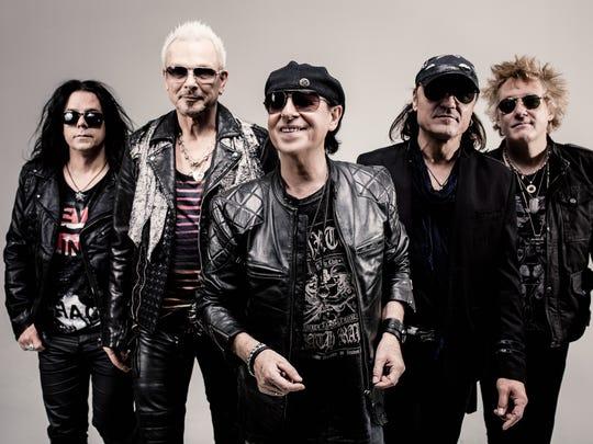 The members of The Scorpions — from left,  Pawel Maciwoda, Rudolf Schenker, Klaus Meine, Matthias Jabs and James Kottak – begin a 16-city North American tour Sept. 10