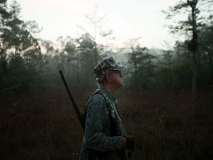 Franklin Adams hunts in the early morning fog of the