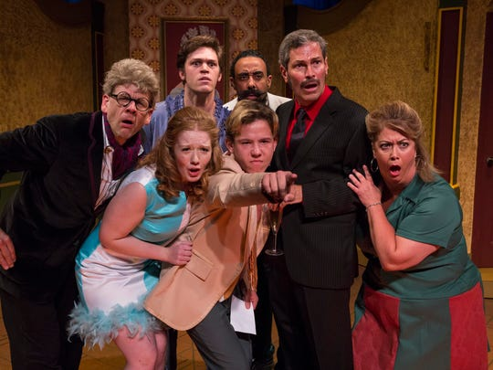 "(clockwise from left) Rob Johansen, Tyler Ostrander, Ben Rose, Bill Simmons, Jolene Mentink Moffatt, Nathan Robbins and Chynna Fry in the Phoenix Theatre's production of ""One Man, Two Guvnors."""