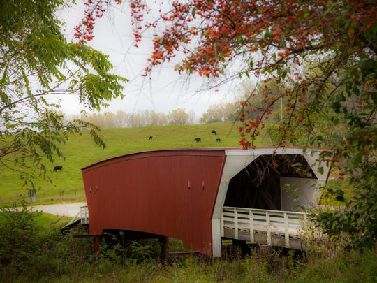 Cedar covered bridge in Madison County Monday, Oct. 5, 2015. The bridge was destroyed in 2017 by an arsonist's fire.