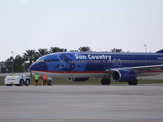 The inaugural Sun Country airlines flight from Southwest