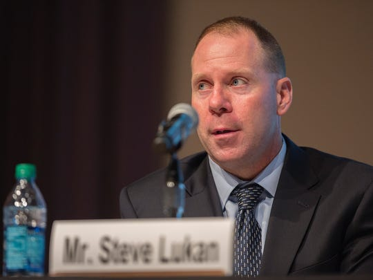 """Rep. Steve Lukan, the Director of the Iowa Office of Drug Control Policy, testifies at the United States Senate Committee on the Judiciary field hearing, """"A New Era in the Fight Against Methamphetamine in Iowa,"""" in Cowles-Kruidenier Auditorium at the State Historical Building in Des Moines, Iowa, Tuesday, Oct. 13, 2015."""