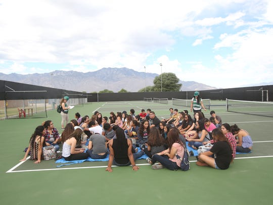Cathedral City High School students and staff participate in the Great Shake Out, which is an international earthquake drill that happens on October 15. Cathedral City High School also gave experience to their health academy students.