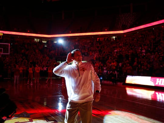 Iowa State Men's basketball coach Steve Prohm works the crowd during  Hilton Madness Friday, Oct. 16, 2015.