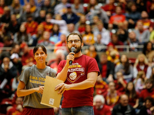 Scott Siepker introduces ISU star Stacy Frese at Hilton Madness Friday, Oct. 16, 2015.