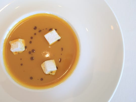 Roasted butternut squash bisque with ginger marshmallows