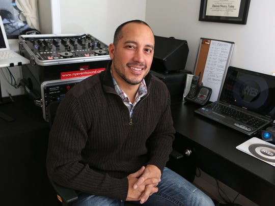 Nyack DJ Luis Williams, who plans and plays all the music that takes place at the start and the finish of the NYC Marathon, is photographed Oct. 19, 2015 in his home office. His company, New York Event Sound, works with the NY Road Runners who produce the NYC Marathon and over 40 running events in Central Park and the surrounding NYC area.