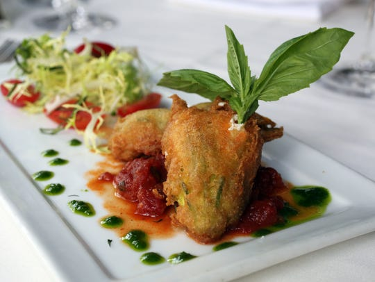 The Tempura Squash Blossom with whipped ricotta and