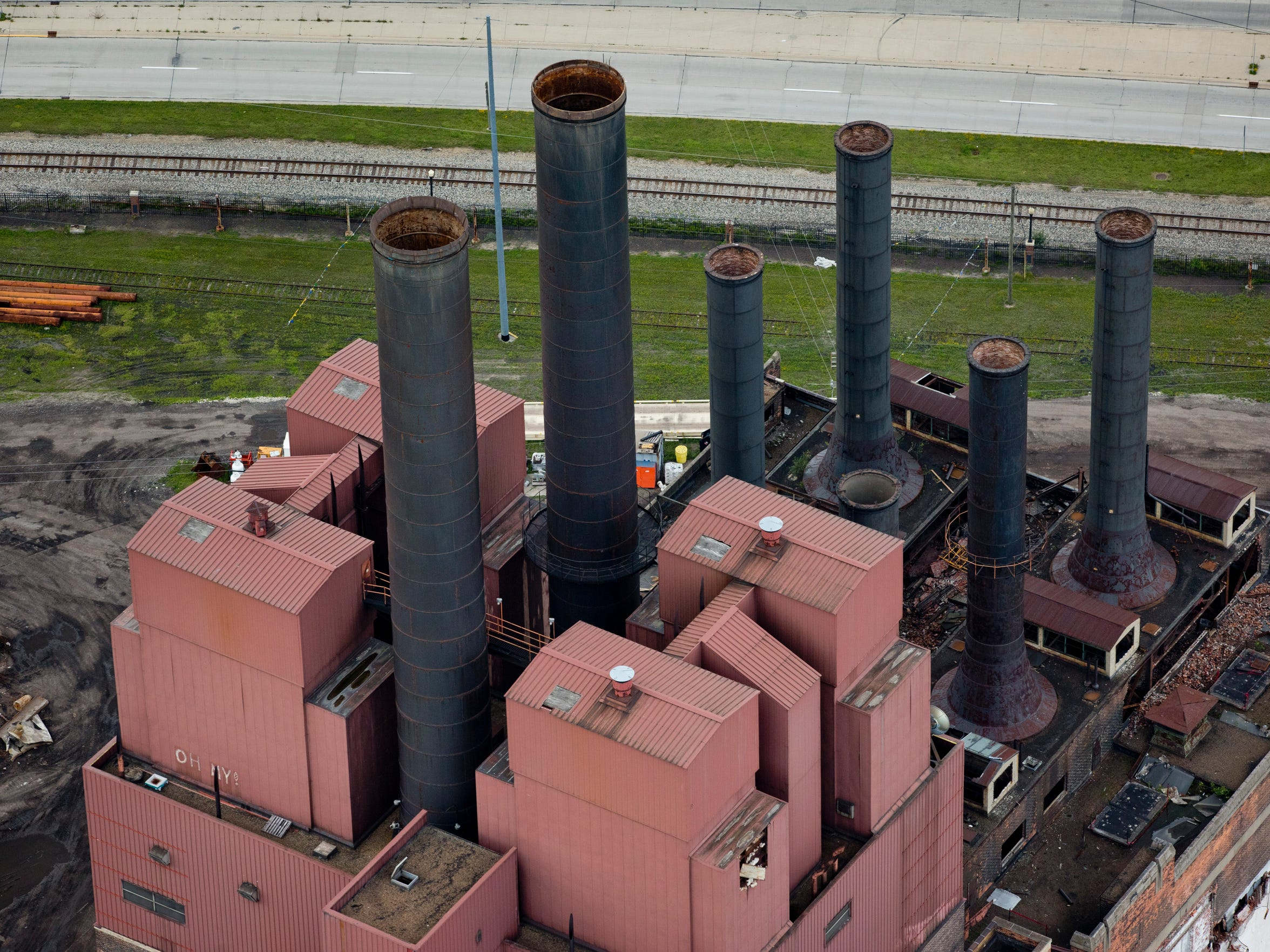 An aerial view of stacks on the former DTE plant July