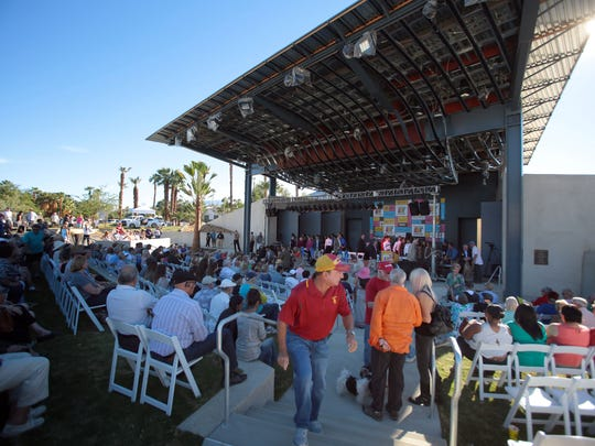 City residents gather for the dedication of the new amphitheater at Rancho Mirage Community Park on Saturday.