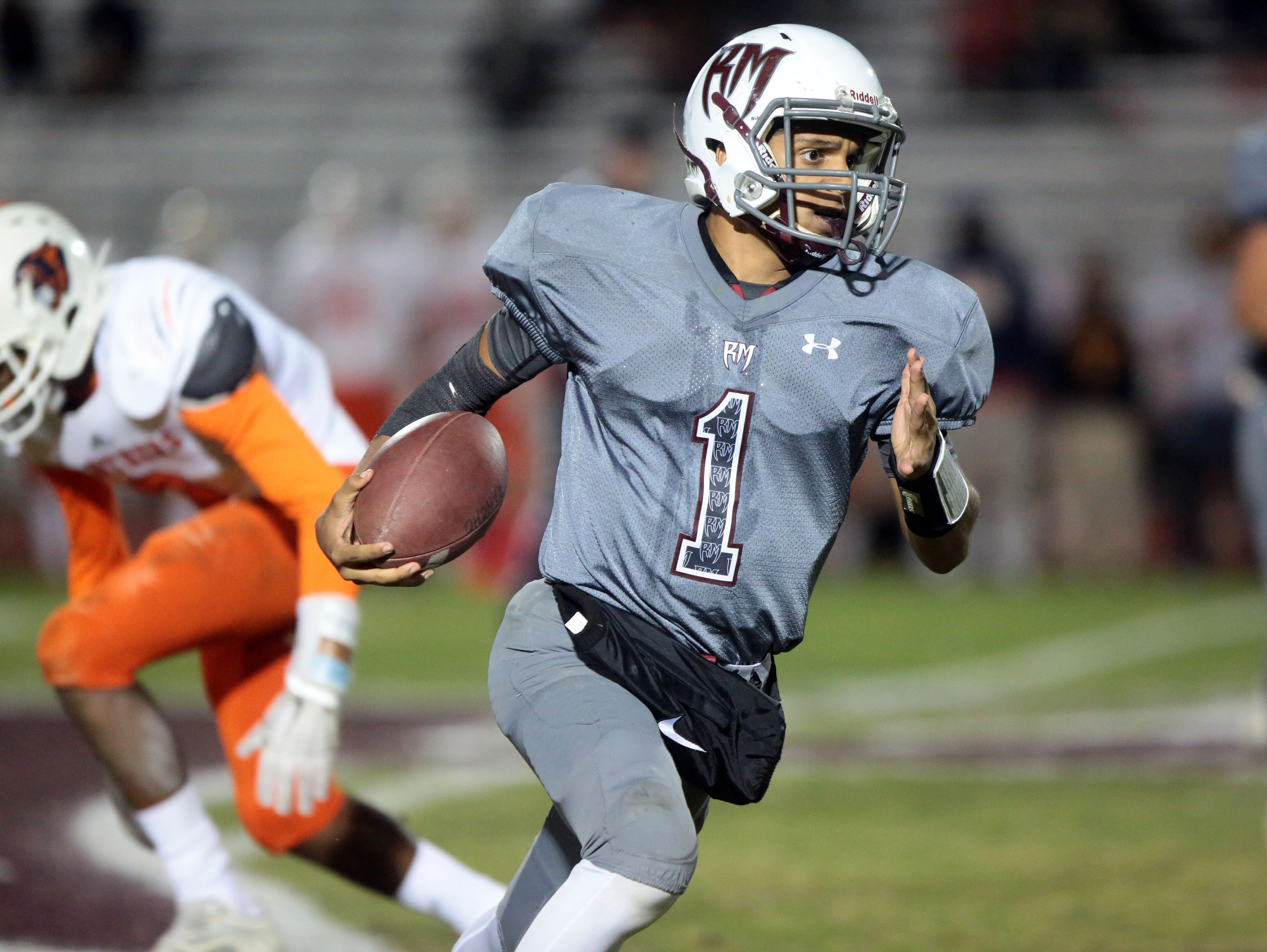 Rancho Mirage quarterback Marques Prior carries the ball for a first down against Polytechnic on Friday in Rancho Mirage.