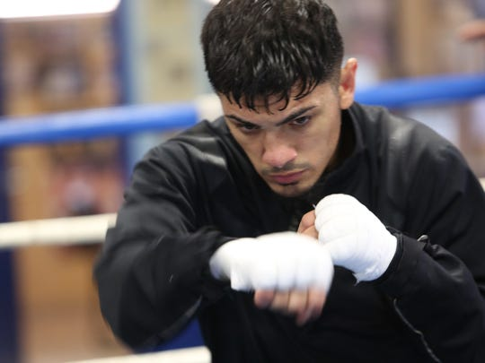 IBF Bantamweight champion Randy Caballero prepares