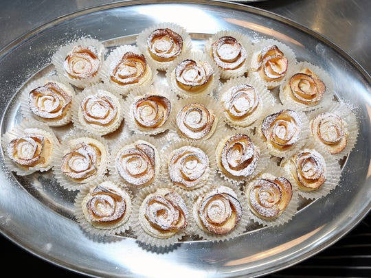 Apple Rose Pastries with Apricot and Pineapple Preserves paired with 2014 Tethys Riesling was served during a wine pairing event Saturday, Nov. 14, 2015, at Brooks Winery in Amity.