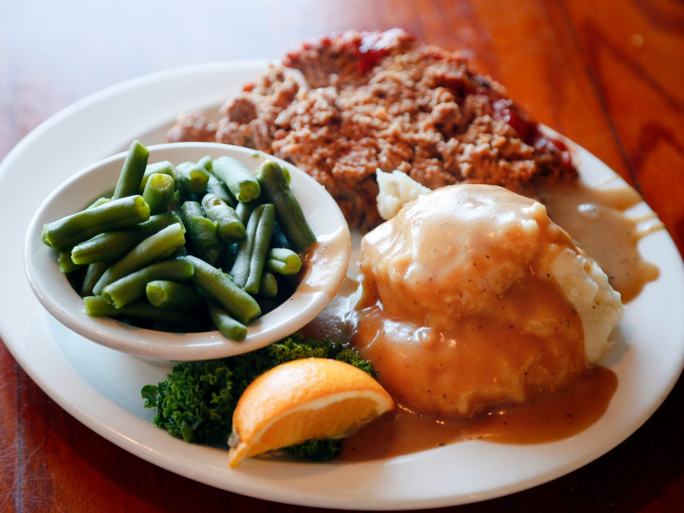 The meatloaf special with mashed potatoes and beans at Riefe's in Davenport photographed Tuesday, Nov. 24, 2015. The restaurant will be closing this month after 66 years in business.