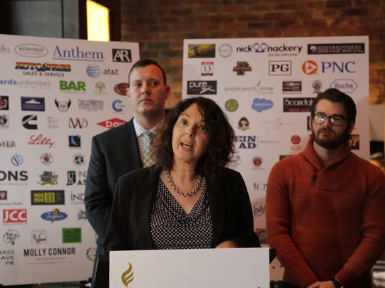 Iris Goldfeder, co-founder of Lafayette-based GasStoveCreative, spoke Friday, Dec. 4, 2015 at a press conference announcing the involvement of local businesses in a statewide push for LGBT rights.
