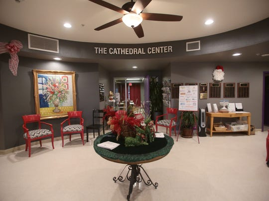 The Cathedral Center decorated for the holidays on Tuesday.