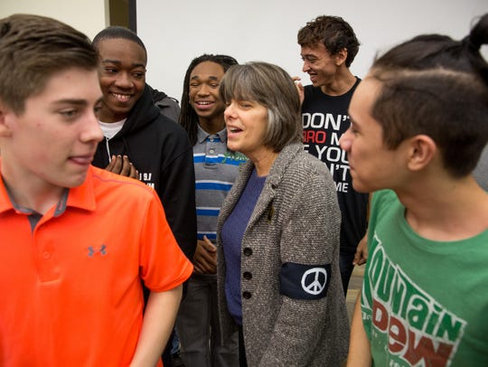 Mary Beth Tinker meets students at Roosevelt High School in 2015.