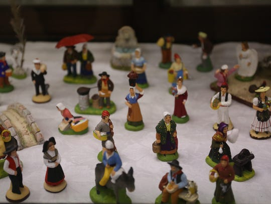 Clay french figures are pictured at Franklin Historical