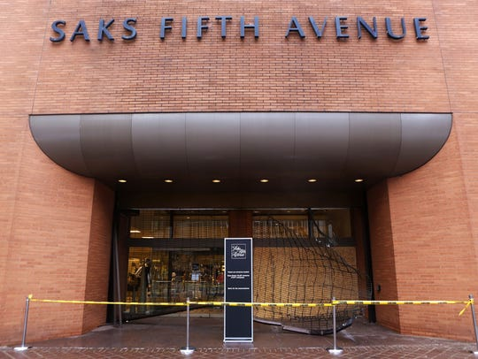 Saks Fifth Avenue is open despite one entrance being
