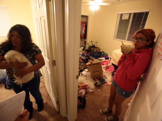 Maria Rodriguez, left, and Naila Gamino, 17, at their house in Coachella on Wednesday. Gaming a Desert Mirage High student is glad to have her own room to do homework.