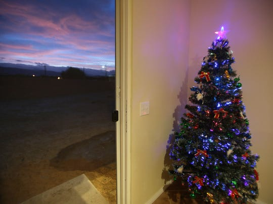 A Christmas tree at Maria Rodriguez's house in Coachella. Her house was built under a Coachella Valley Housing Coalition program where home owners built their own house.