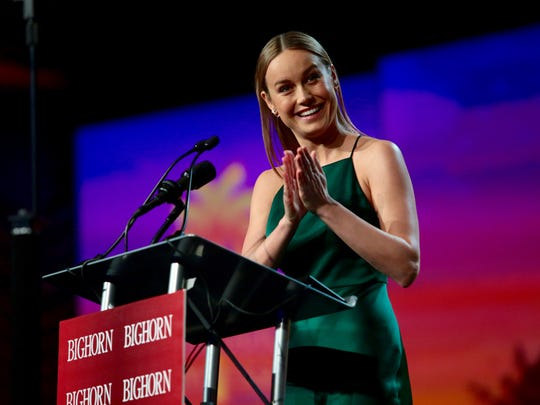 "Brie Larson, star of ""The Room,"" accepts the ""Breakthrough Performance Award"" at the Palm Springs International Film Festival Awards gala on Saturday night."