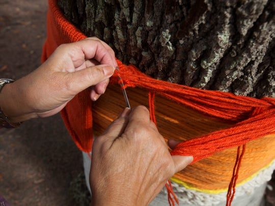 Rose Young works on yarn bombing an oak tree at the Lee County Regional Library in downtown Fort Myers on Thursday.