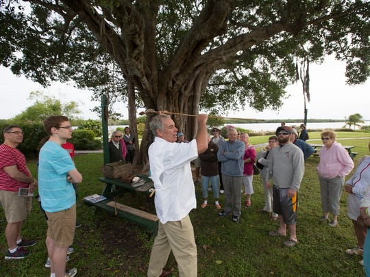 Parke Lewis, the environmental educator at the Mound House on Fort Myers Beach displays an atlatl. A Calusa Tools Demonstration is Saturday at the Mound House, in Fort Myers Beach.
