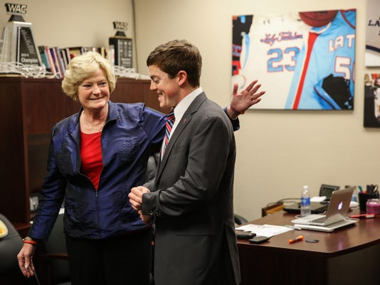 RUSTON, LA - DECEMBER 7, 2014: Pat Summitt visits Tyler Summitt for his first home game as Head Coach of the Louisiana Tech Lady Techsters. Photo By Donald Page