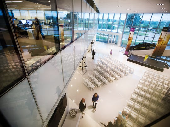 Lobby of the Hertz headquarters building in Lee County.  The $46 million structure was built as Hertz moved to Southwest Florida after Lee County provided about $4 million in economic incentives.  The county is now working to convince Scotlynn Group to locate its new headquarters in Fort Myers and is participating in a $700,000 incentive program that will pay the company a $5,000 tax break for every employee it hires for jobs paying $48,000 or more