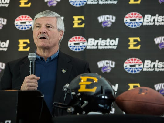 ETSU coach Carl Torbush is thanksful to have Western Carolina as the opponent at Bristol.