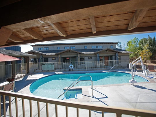 View of the community pool at the Carlos Ortega Villas senior affordable housing complex in Palm Desert on Thursday, January 28, 2016.