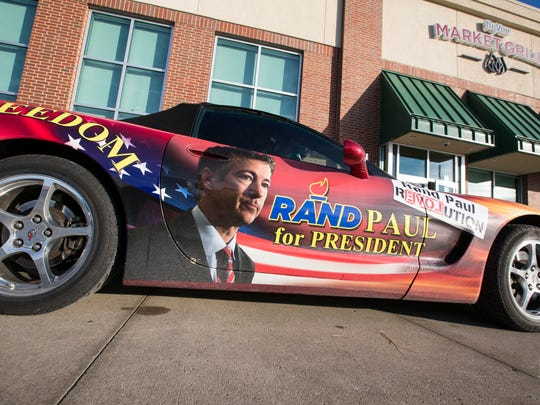 2004 Corvette owned by Gene Newman of Southaven, Mississippi, was parked outide a Republican presidential candidate Rand Paul event Monday Feb. 1, 2016, at a Hy-Vee in Waukee.