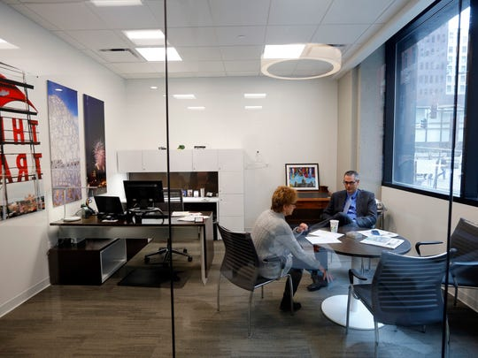 Private offices are smaller, but designed smarter, with more functional furniture.