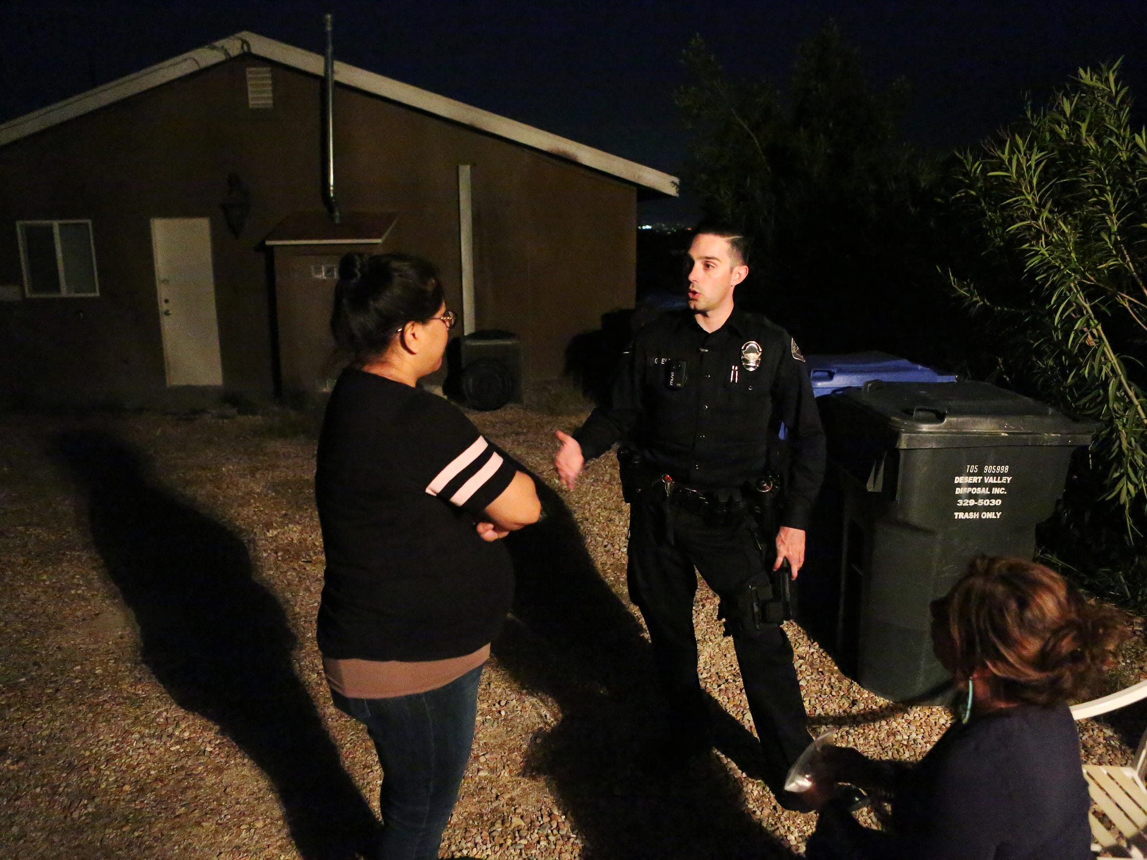Desert Hot Springs officer Greg Elias tries to convince a woman to file a report on her husband attacking her, after her daughter made a 911 call.