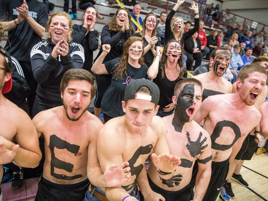 Fans from Taylor University joined dozens of students
