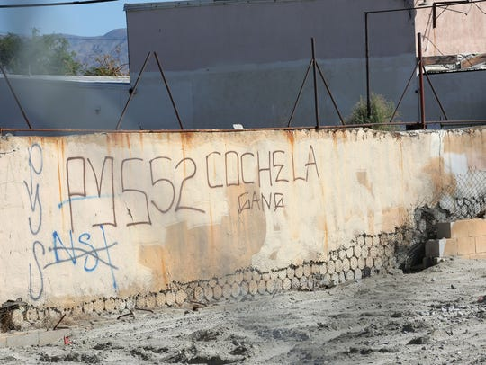 Varrio Coachella Rifa graffiti is seen in Coachella in 2016. Much of the city is plagued by gang flagging, which marks the territory of the smaller gangs within VCR.