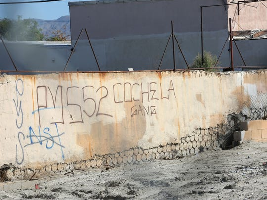 Gang graffiti connected to Varrio Coachella Rifa is seen in Coachella in February 2016.