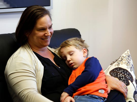 Amy Piperato of Thiells and her son Vincent, 5, visit