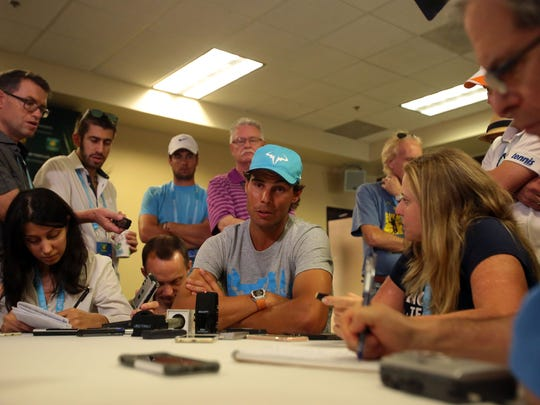 Rafael Nadal of Spain speaks to media during the BNP Paribas Open on Wednesday, March 9, 2016 in Indian Wells, CA.