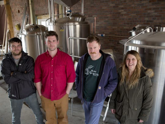 The co-founders of Foam Brewers, (left to right) Sam Keane, Robert Grim, Todd Haire and Dani Casey, in their waterfront location of 112 Lake St. in Burlington in March, 2016.