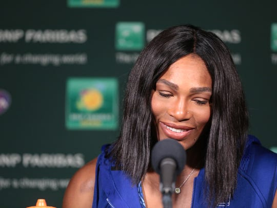 Serena Williams speaks at a press conference on Thursday,