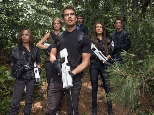 """From left to right: Christina (Zöe Kravitz), Tris (Shailene Woodley), Four (Theo James), Caleb (Ansel Elgort), Tori (Maggie Q) and Peter (Miles Teller) in """"The Divergent Series: Allegiant - Part 1."""""""